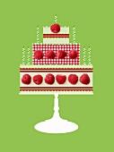 Birthday cake pattern made with raspberries