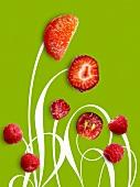Composition with raspberries,strawberries ,grapes and madarins