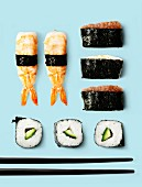 Composition with makis and chopsticks
