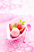 Rose and strawberry ice cream
