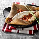Sardine and tomato buckwheat pancake