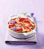 Grilled strawberry zabaglione with borage flowers