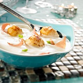 Cream of cauliflower soup with scallops and bacon