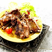 Spicy grilled baby wild boar spare ribs