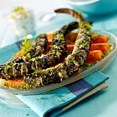Roasted eel with dill,steamed carrots
