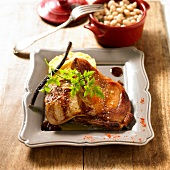 Rossini pork chops with licorice sauce,mashed potatoes and white haricot bean casseole