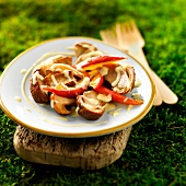 Ceps and nectarines in creamy vanilla sauce