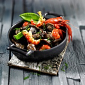 Crayfish and blewit stir-fry