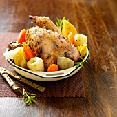 Roast pheasant with vegetables