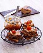 Foie gras on toast with mango chutney