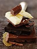 An arrangement of chocolate pieces