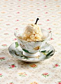 Pear sorbet in a porcelain cup
