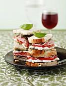 Boiled ham,tomato, mozzarella and pesto sandwich