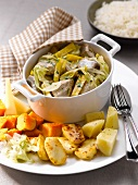Veal and leek Blanquette with old-fashioned grilled vegetables