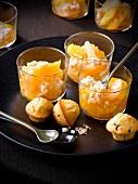 Citrus fruit and coconut verrines, chocolate chip mini muffin