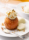 Caramelized baked apple with sesame seeds and whipped cream,apple sorbet