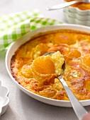 Apricot-almond batter pudding