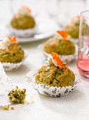Herb mini cupcakes topped with trout roe and cream