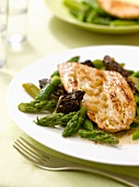 Veal Piccata with green asparagus and morels