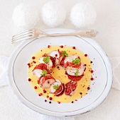 Lobster tail in Champagne zabaglione with pink pepper