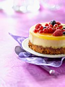 Summer fruit and lemon curd cheesecake