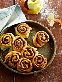 Apple and walnut falky pastry rolls
