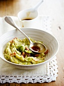 Brussels sprout mash with diced bacon
