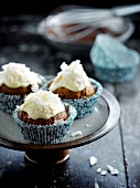 Carrot muffins with coconut topping