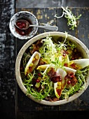 Curly endive,chicory,potato and streaky bacon salad