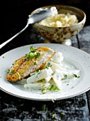 Grilled sea bream and creamy salsifies with parsley