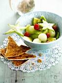 Fresh fruit salad with cinnamon crackers