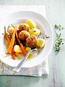 Shrimp croquettes,new potatoes and carrots,lemon butter