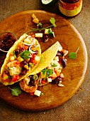 Shrimp and red kidney bean tacos