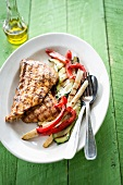 Turkey escalopes and grilled vegetables