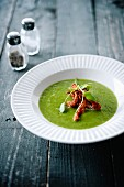 Watercress soup with crisp turkey bacon