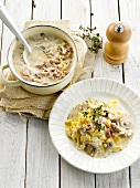 Tagliatelles with ham,mushrooms and chicory