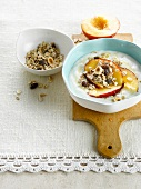 Yoghurt with nectarines,cereals and honey