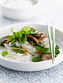 Thai-style noddles with beef and sugar peas
