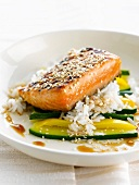 Thick piece of grilled salmon ,steamed vegetables with sesame seeds