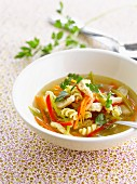 Chicken broth with fusillis and vegetables