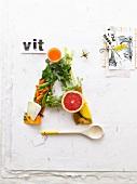 Vitamin A-haltige Lebensmittel als A angeordnet