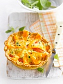 Carrot,pea and cheese individual quiche