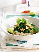 Rice noodles with chicken, broccolis and sugar peas
