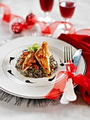 Braised guinea-fowl with creamy Puy lentils
