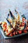 Tomato tartare with sardines in crisp Comté crust