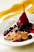 Pan-fried foie gras escalope, pear stewed with blackcurrants