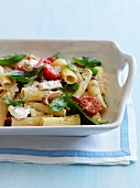 Penne, cherry tomato, feta, boiled ham and basil salad
