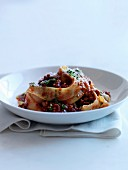 Papardelle with ground meat and tomato sauce