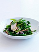 Sauteed broccolis with green beans,roasted turkey breast,olives and mint