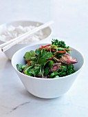Sauteed broccolis with beef,coriander and green and red peppers,basmati rice